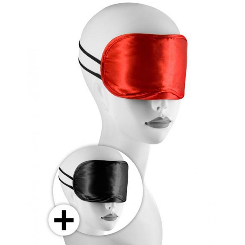 Large masque satin lot de 2 rouge et noir