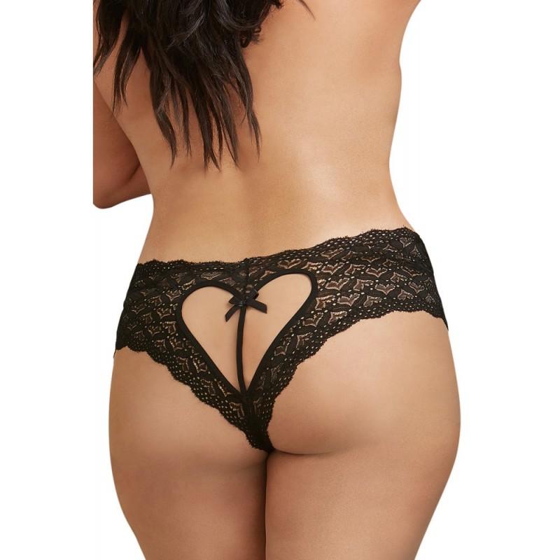 Shorty noir grande taille de dentelle ouvert et ajouré sur les fesses forme coeur